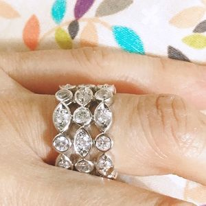 Cubic Zirconia 3 layered Rhodium Plated Ring 7